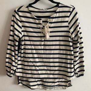ZARA W/B COLLECTION STRIPED QUARTER SLEEVE TOP